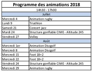 Le programma des animations UCPA
